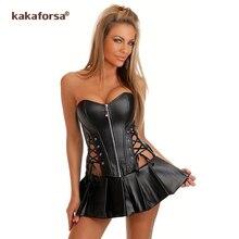 Kakaforsa nueva ropa interior Sexy caliente gran tamaño falda de piel sintética sin tirantes disfraces Sexy cintura delgada corsé vestido plisado