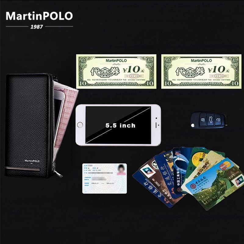 MartinPOLO мужские кошельки из натуральной кожи Длинный держатель для карт мужской кошелек на молнии большой емкости роскошный клатч деловой кошелек MP3001