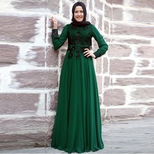 Green Chiffon Cheap Muslim Evening Dresses With Long Sleeve High Neck Saudi Arabia Evening Dress with Hijab Shawl Vestido Longo
