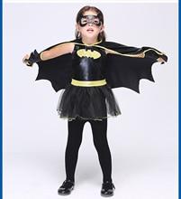 Cool Black New Halloween Batmen Girls Cosplay Costume Child Batgirls Fantasy Fancy Dress Kids Carnival Party Anime Clothing Set