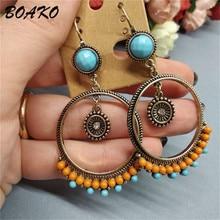 BOAKO Bohemian Beaded Round Dangle Earrings Colorful Resin Bead Drop Earrings Hanging for Women Female Fashion Jewelry Oorbellen