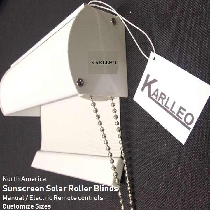 North America Sunscreen Blackout Roller Blinds Curatin CUSTOMZ MADE manual or motorize control