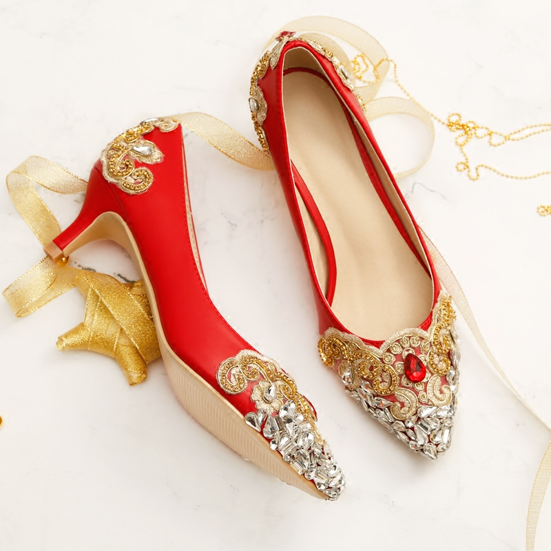 Women Red 5cm High Heels Wedding Shoes Crystal Bride Pumps Thin Heels Pointed Toe Flower Ladies Sexy Party Shoes Women Footwear