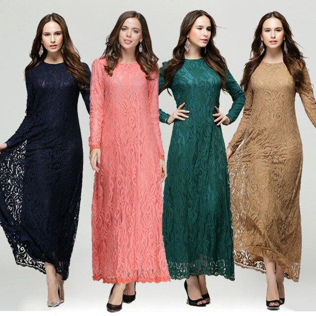 ae89223d77 2017 New Women Islamic Muslim lace Dress Ladies Long-sleeve Long maxi  Dresses Malaysia Abayas in Dubai Turkish Clothing 4 Colors