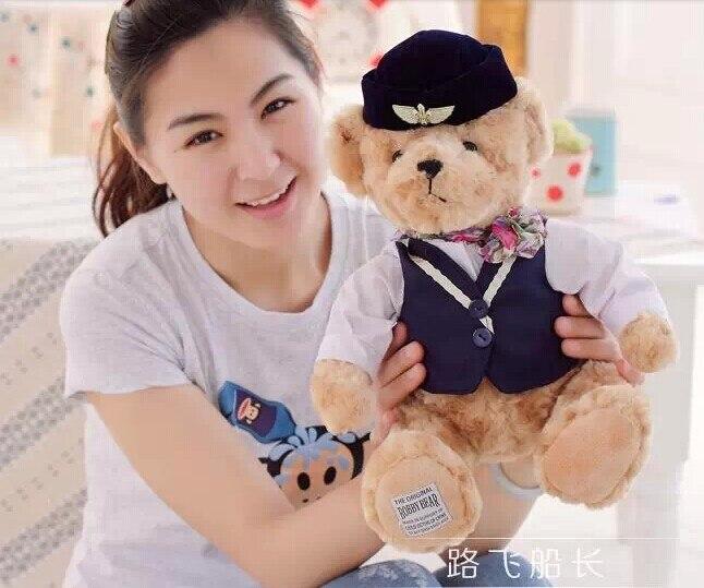 lovely British style teddy bears doll dark blue cloth flight attendant bear plush doll birthday gift