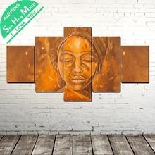 дешево!  5 Шт. Африканская Женщина Рисунок Wall Art Холст Плакат и Печать Холст Картины Декоративные