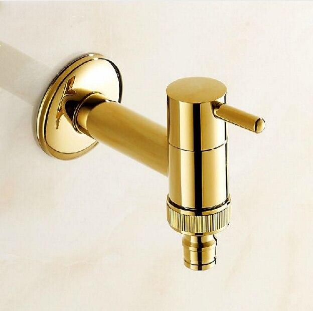 New Golden Finish Garden Faucet Bathroom Wall Mounted Washing ...