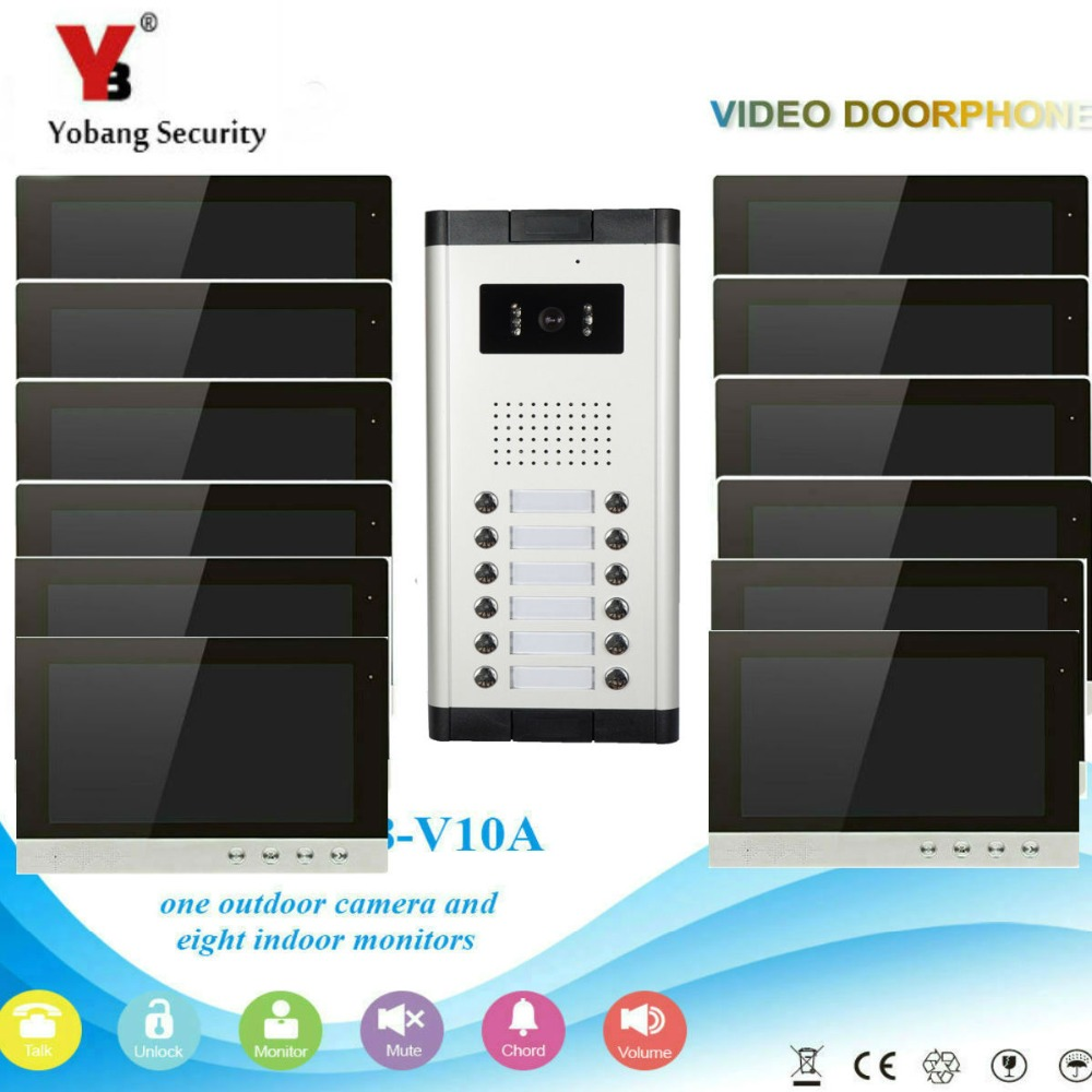 YobangSecurity Video Intercom Monitor 10-Inch Video Doorbell Camera System Intercom Entry Access System for 12 Units Apartment