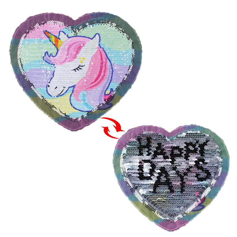 Prajna Unicorn Patches Reversible Change Color Magic Rainbow Sequins Patch Jacket DIY Dress Kid Clothing Applique Letter Sticker in Patches from Home Garden