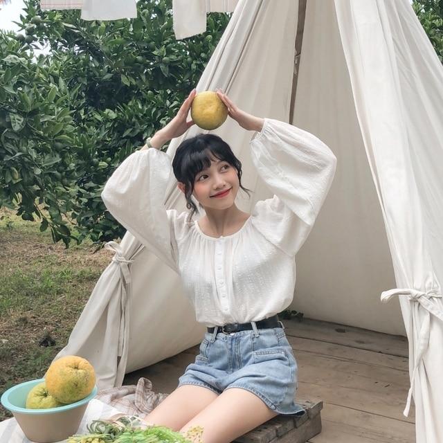 ulzzang harajuku korean style spring 2019 autumn fashion top women shirts  vintage personality sweet buckle pink