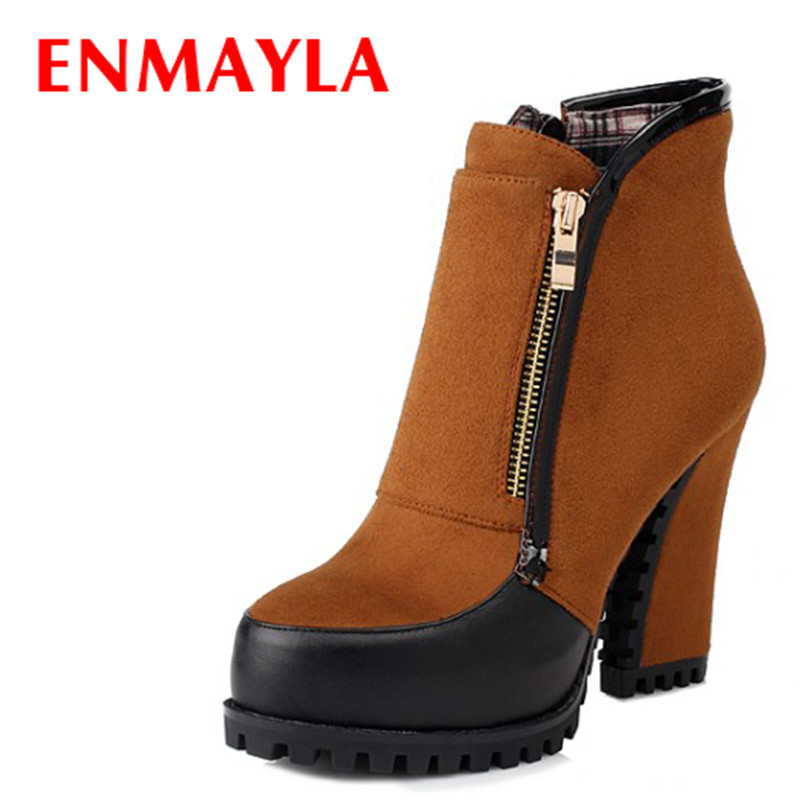 ENMAYLA Mixed Colors High Heels Ankle Boots for Women Faux Suede Black Chunky Heels Zipper Platform Boots Winter Shoes Woman enmayla autumn winter chelsea ankle boots for women faux suede square toe high heels shoes woman chunky heels boots khaki black