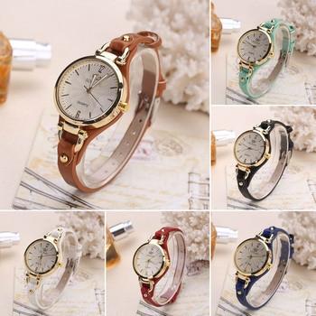 Women Casual Watches Round Dial Rivet PU Leather Strap Wristwatch Ladies Analog Quartz Watch Gift часы женские DOD886 2
