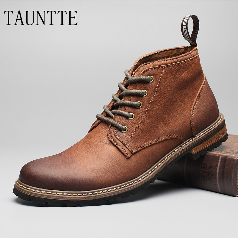 Tauntte Winter Retro Full Grain Leather Ankle Boots Fashion Men Martin Boots The Dress Boots With Fur