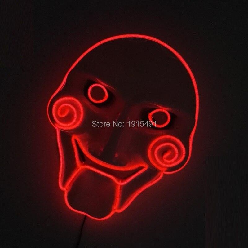EL Mask mirgo Powered by 2-AA baterijas 10 krāsas Pieejams LED sloksnes neona apgaismojums Halovīni maska kāzu dekorēšanai