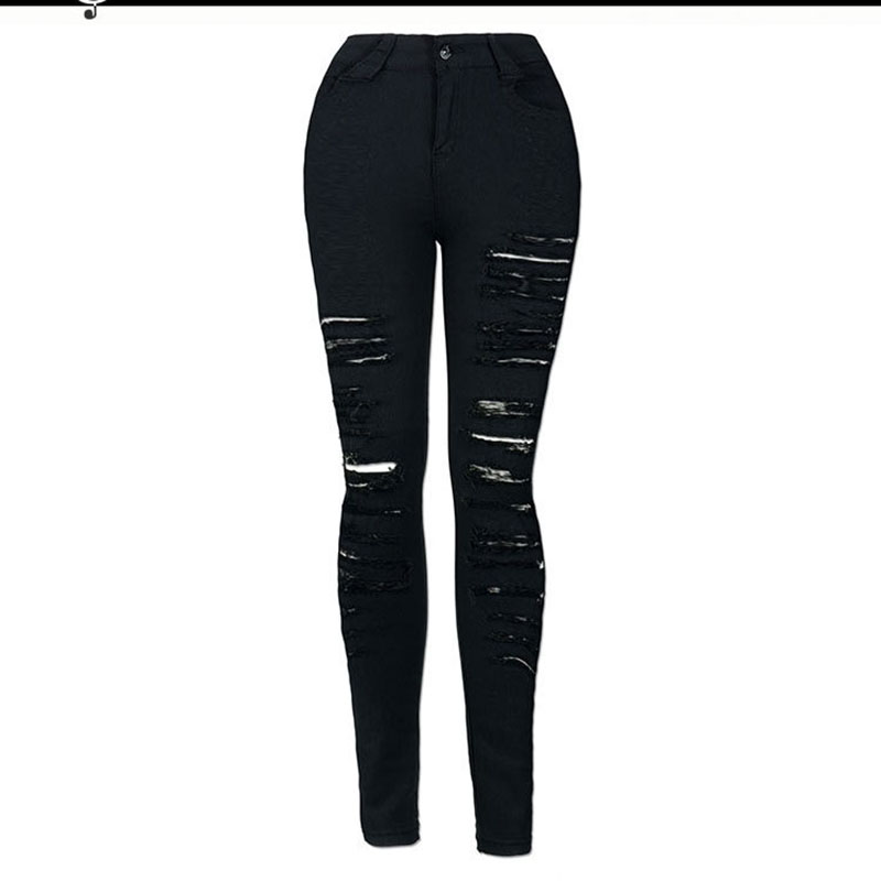 Fashion Ripped Jeans High Waist Skinny Jeans Destroyed Women Sexy Call  European And American Cool