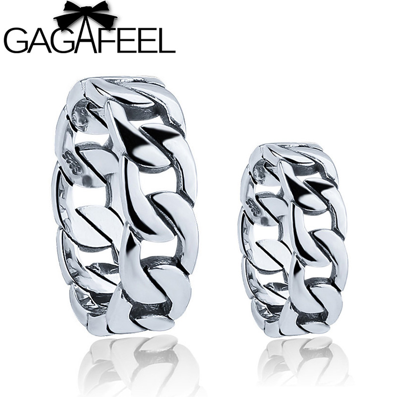 GAGAFEEL Hot 100% Real Pure 925 Sterling Silver Ring Thai Silver Lover's ring free shipping punk style Men / Women ring LHYR14 punk style pure color hollow out ring for women