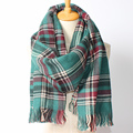 2016 New Arrival Winter Fashion Women Euro Green Mix Color Plaid Thick Warm Cashmere Scarf