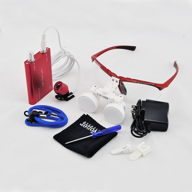 New Style 2.5X 420mm surgical binocular dental loupes with LED Head Light Lamp Freeshipping red  цены