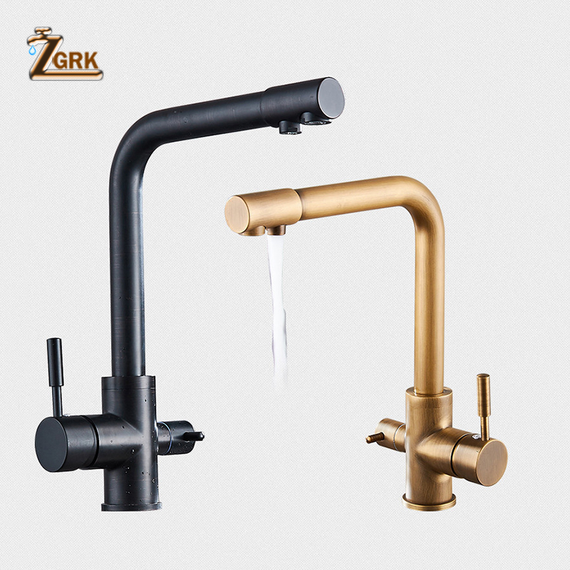 ZGRK Kitchen Sink Faucet Deck Mounted Brass Basin Faucet with Water Purification Features Mixer Tap Crane