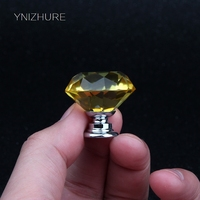 30mm 10pcs Yellow Diamond Shape Crystal Glass Drawer Cabinet Knobs And Pull Handles Kitchen Door Wardrobe