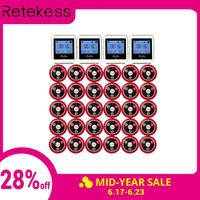 RETEKESS Wireless Waiter Calling System For Restaurant Service Pager System Guest Pager 4 Watch Receiver + 30 Call Button F3288B