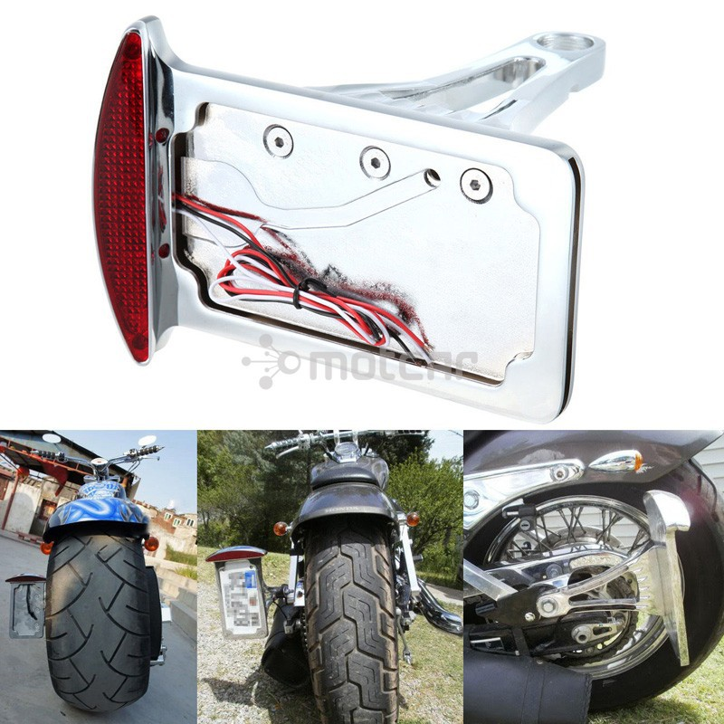 Universal Fit Motorcycle 12V Side Mount License Plate White Light LED Tail BrakeStop Red Light For Harley Customs Choppers brand new silver color motortcycle accessories abs plastic led tail light fit for harley harley iron 883 xl883n xl1200n chopped
