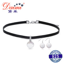DAIMI 925 Silver Jewelry Set 12-13mm Freshwater Coin Pearl Choker Necklace, Dangle Earrings, Fashion Instagram Stylish Jewelry(China)