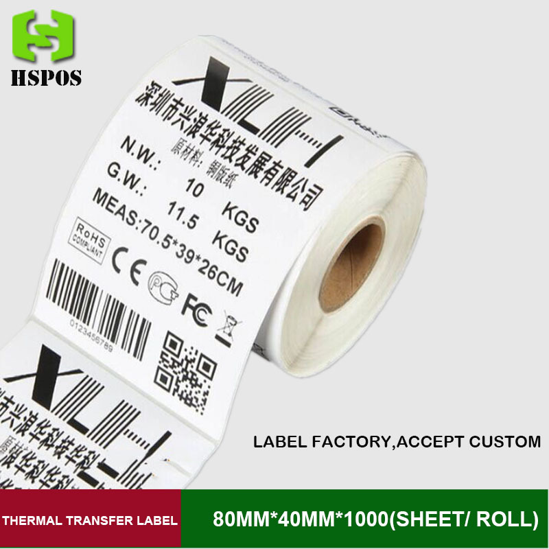 Thermal transfer label sticker 80mm*40mm blank printing adhesive paper 1000 sheet per roll papel adhesivo for label printer