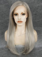 Lady Gaga Style Straight Sliver Grey Synthetic Lace Front Wig Drag Show Free Shipping