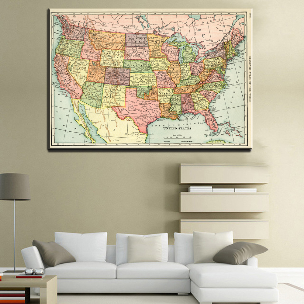 xll192 United States American Map Wall Painting Art For Kids Rooms Wall Prints Poster