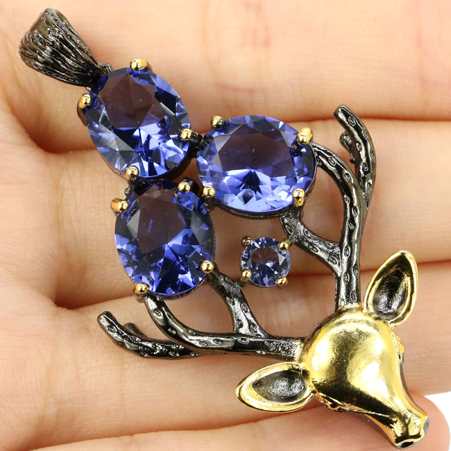 Sublime Antique Vintage Big Heavy 13.8g Deer Iolite For Man Black Gold Silver Pendant 58x31mm