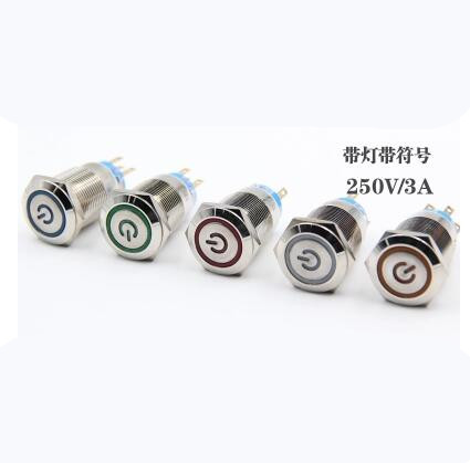 2pcs/Lot 19mm Waterproof Metal Push Button Switch LED Light Self-locking Button Switch Car Modification Switch 220v
