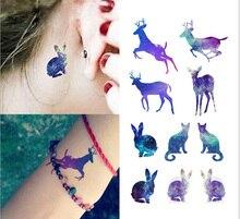 Deer Cat Rabbit Night Animal Image Temporary Tattoo Sticker #r136