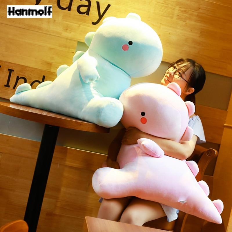 Ultra Soft Lovely Dinosaur Plush Doll Huggable Pink/Blue Stuffed Dino Toy Kids Huggable Animals Plush Toy 30/40/50cm(China)
