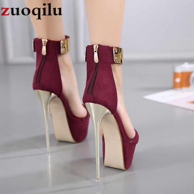 16CM wysokie obcasy platformowe buty weselne damskie buty na wysokim obcasie damskie buty sexy czarne buty na wysokim obcasie sukienka pompka imprezowa obuwie damskie