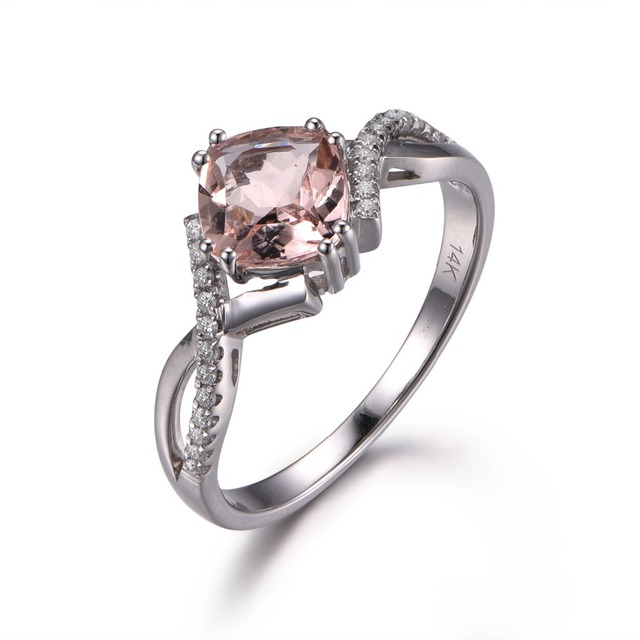 f8d7ad911def0 US $519.0 |MYRAY Solid 14k White Gold 8x8mm Cushion Cut Natural Genuine  Pink Morganite Antique Ring Vintage Engagement Rings for Women Band-in  Rings ...