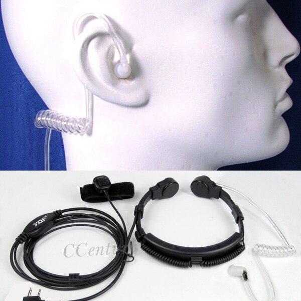 imágenes para Vibración de la garganta táctica garganta micrófono auricular ptt para walkie talkie baofeng bf-888s radio portátil uv 5r uv-5ra plus 2-pin