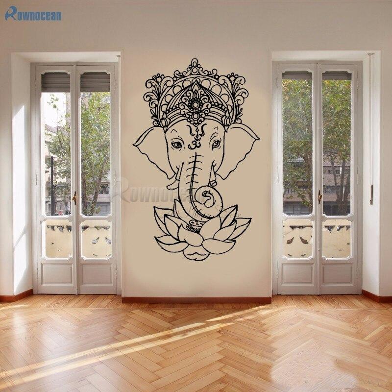 Elephant Buddha Yoga Mandala Lotus Flower Wall Stickers Ganesha Vinyl Wall Decals Home Decor Living Rooms Removable Mural E502