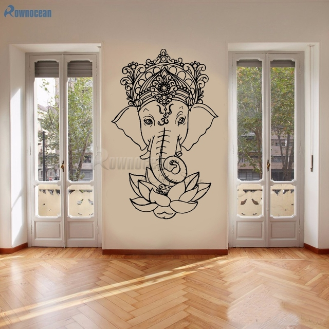 Gajah Ganesha Buddha Yoga Mandala Lotus Flower Wall Stiker Vinyl Wall Decals Home Decor Ruang Keluarga Removable Mural E502