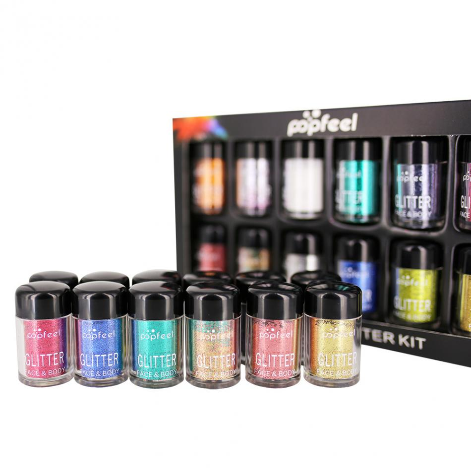 Popfeel 12pcs Metallic Glitter Eyeshadow Loose Powder Makeup Shimmer Colorful Pigment Face Highlighter Make Up Glitter Powder patterns of repetition in persian and english