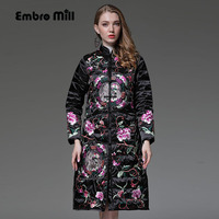 Chinese style royal embroidery Down Jacket coat women winter flowers vintage lady floral White duck Down Parkas female S XXL