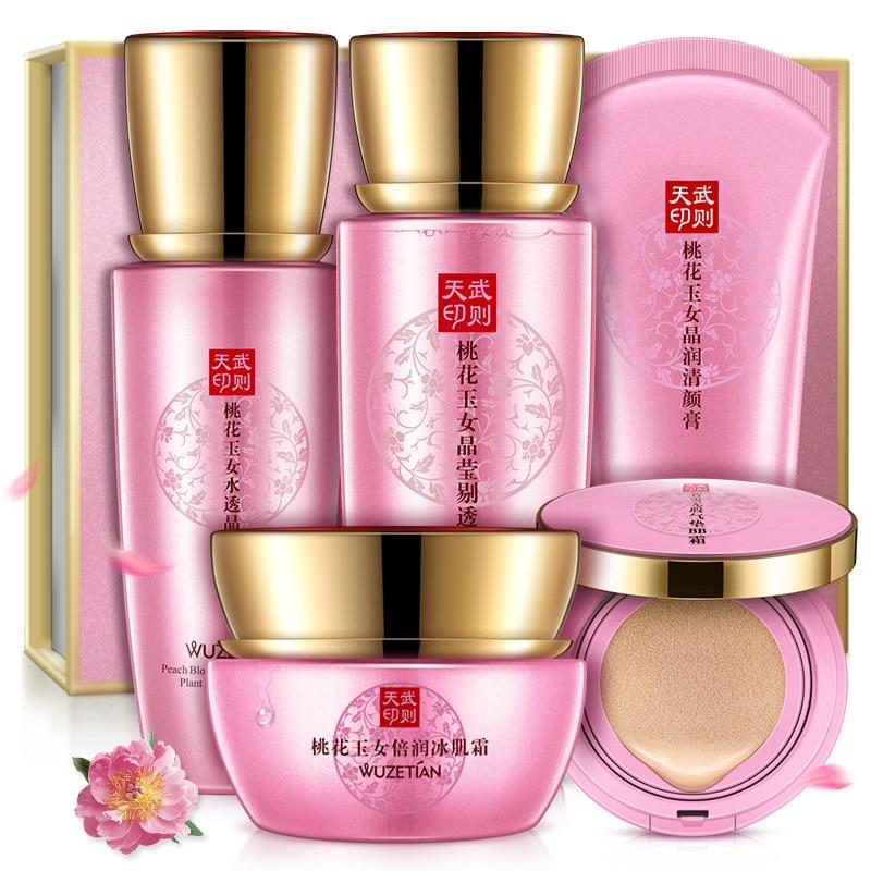 2018 Peach Blossom Delicate Cleansing Moisturizing Facial Bleaching Treatment 5 pcs set все цены