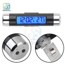 2 in 1 Car Auto Thermometer Electronic Clock LCD Display Clip-on Digital Temperature Blue Backlight Automotive Accessories 2 in 1 air vent outlet car electronic clock thermometer luminous backlight car styling auto car digital time lcd screen