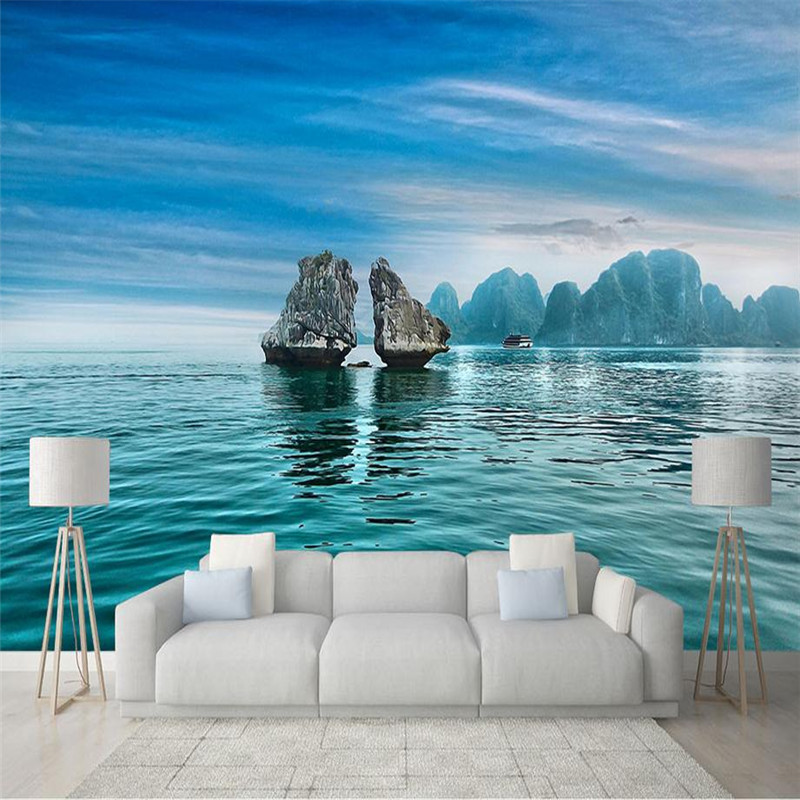 custom 3d modern decorate photo wallpaper bedroom living room large background wall mural blue sky ocean reef scenery wallpaper