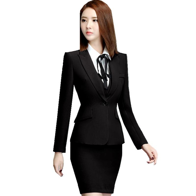 office wear uniform skirt suit jacket blazer ol suits ladies sleeve clothing autumn pieces aliexpress business