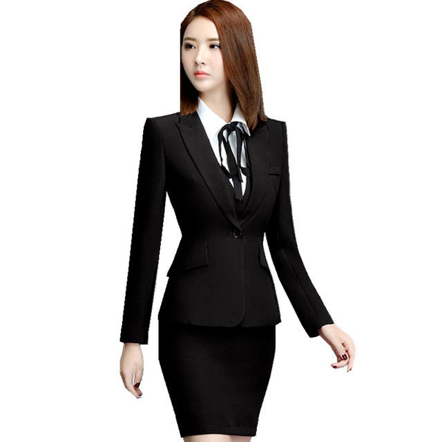 Fmasuth Autumn Office Wear Uniform Black Skirt Suit Full ...