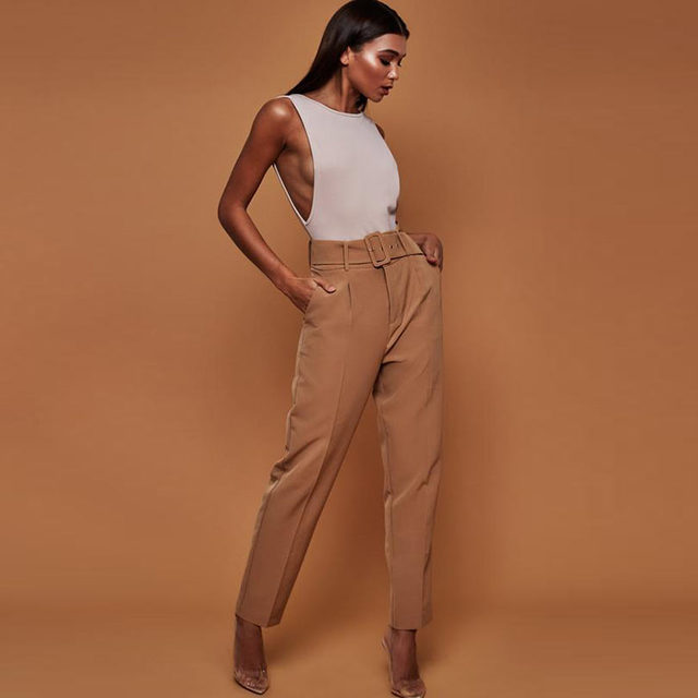 Casual Pants High Waist Autumn Belted Straight Leg Slacks Office Lady Suit Pants Women Trousers 5