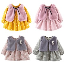 Kids Dress For Girl Clothes Winter Plus Velvet Faux Fur Vest +Bow Design Kids Dress for Princess Girls Clothes