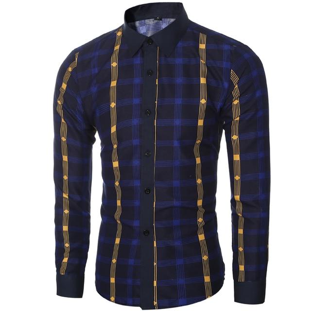2017 New Casual Men'S Brand Clothing Office Herren Hemden Slim Fit Shirt Fashion Plaid / Striped Shirts MenS Camisa Hombre H7203