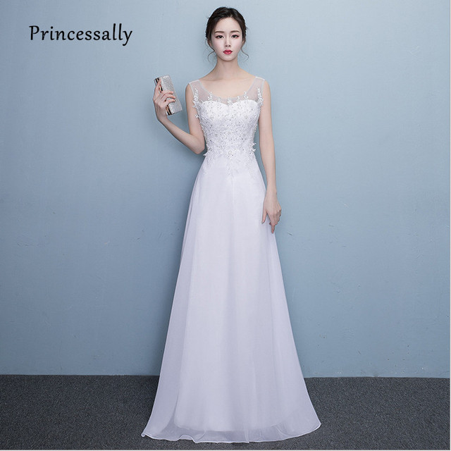 491ad991e8b Vestido De Noiva New Simple Chiffon Wedding Dresses Tank Scoop Lace Beading  See through Back Sleeveless Bride Wedding Party Gown
